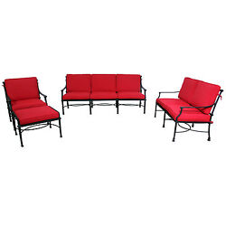 Corona Deep Seat Red Sunbrella Cushioned Outdoor Patio Seating Set