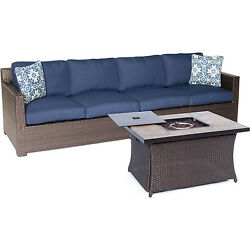 Hanover Outdoor Metropolitan Three-piece Sofa Set with Woven Fire Pit in Navy Bl