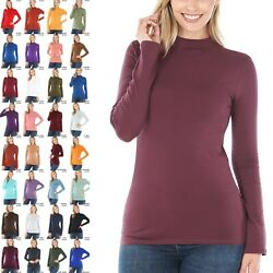 COTTON Mock Neck Long Sleeve Tee Soft Stretch Solid Black White Turtle Neck Top $9.95