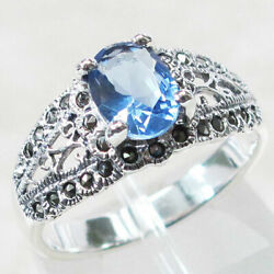 CLASSY  MARCASITE 1.5 CT TANZANITE 925 STERLING SILVER RING SIZE 5-10