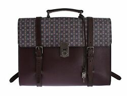 NWT $1600 DOLCE & GABBANA Bag Bordeaux Baroque Leather Backpack Document Laptop