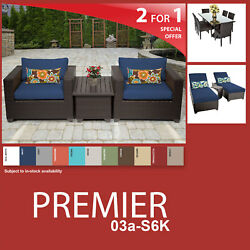 Premier 13 Piece Outdoor Wicker Patio Package PREMIER-03a-S6K - Navy