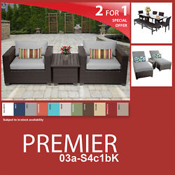 Premier 12 Piece Outdoor Wicker Patio Package PREMIER-03a-S4c1bK - Grey