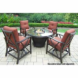 Premium Sunlight Red 5-piece Chat Set with Fiberglass Round Gas Firepit Table wi