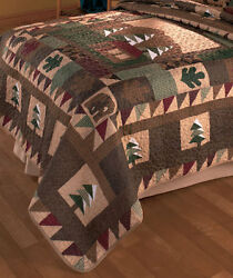 FULL QUEEN SIZE QUILT BIG PINE LODGE RUSTIC CABIN NATURE DESIGN BED ROOM DÉCOR