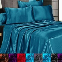 3 Pc Satin Silky Sheet Set QueenKing Size Fitted Pillow Cases 500TC (10 Colors) $24.99