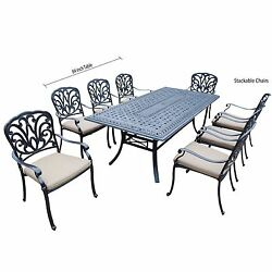 9 Piece Buckingham Dining Set with Rectangle Table 8 Stackable Chairs with Poly