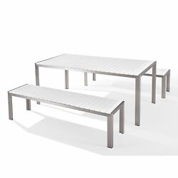 Garden Dining Furniture - Table and Benches - NARDO White