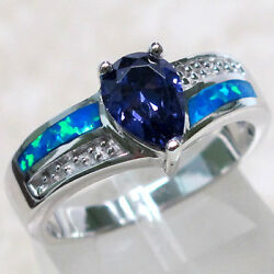 TRENDY 1 CT TANZANITE BLUE OPAL 925 STERLING SILVER RING SIZE 5-10