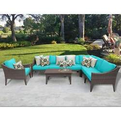 Miseno MANHATTAN-08b-ARUBA NYC 8-Piece Outdoor Furniture Set and Club Chairs