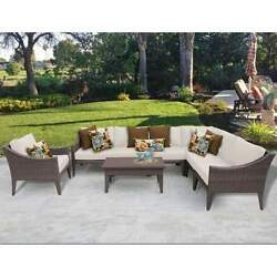 Miseno MANHATTAN-08b-BEIGE NYC 8-Piece Outdoor Furniture Set and Club Chairs