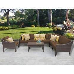 Miseno MANHATTAN-08b-COCOA NYC 8-Piece Outdoor Furniture Set and Club Chairs