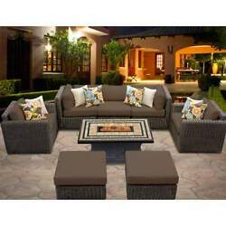 Miseno VENICE-08d-COCOA 8-Piece Outdoor Furniture Set with Propane Fire Pit