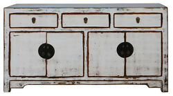 Chinese Distressed Rustic Off White Sideboard Buffet Table Cabinet cs2105