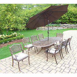 Dakota Outdoor Patio Dining Set with Table 8 Chairs 9 ft Brown Umbrella and St