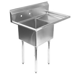 Stainless Steel Commercial Kitchen Utility Sink with Drainboard 39quot; wide