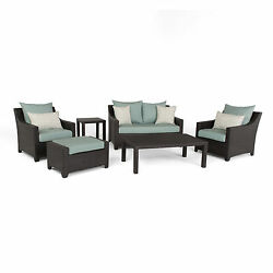 Deco Spa Blue 6-Piece Outdoor Patio Loveseat and Club Chair Set by RST Brands