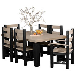 Poly Outdoor 4' x 6' Contemporary Dining Table Set