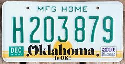 Oklahoma 2010 MANUFACTURED HOME License Plate H 203 879 - Very Nice!