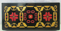 Vintage Black Lacquer Jewelry Trinket Box Red & Brown Design Velvet Lining