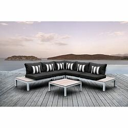 Solis Pulito 4-piece Deep Seated White Modular Sectional Patio Set with Black C
