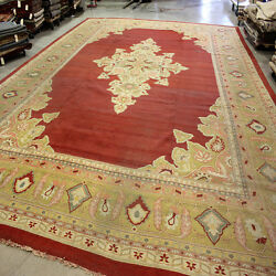 Antique Hand Knotted Rug Wool Antique Palace Oriental Carpet Brick Red 17'8x23'6
