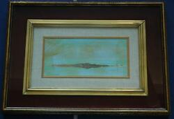 Beautiful Vintage Illegibly Signed Oil on Panel Beach Scene w Sailboats