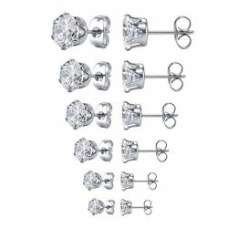 Surgical 316L Stainless Steel Stud Earrings Cubic Zircon Round Men Women 2PC $4.95