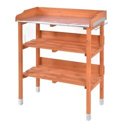 Outdoor Garden Wooden Potting Bench Work Station Table Tool Storage Shelf wHook