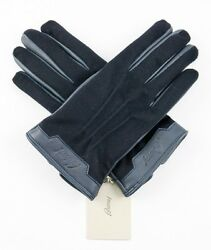 Men's BRIONI Italy Navy Deerskin Leather Cashmere Lined Gloves S M 7.5 $695 NWT!