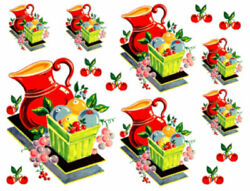 Vintage Image Retro Kitchen Red Pitcher and Cherries Waterslide Decals KI423 $12.99