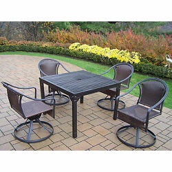 Hometown Outdoor Dining Set with 4 Wicker Swivel Chairs