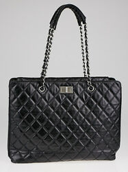 Chanel Black Quilted Calfskin Leather Reissue Laptop Bag