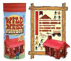 WILD WEST Playset Build Log Cabins logs + People FUN NEW IN BOX
