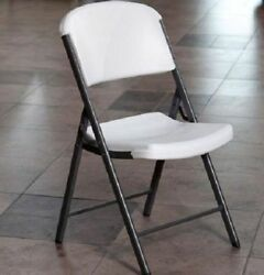 #368 Folding Chair Classic Seat Home Kitchen Pantry Garden Stool Lightweight Whi