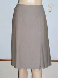 NWT Sz 6 LAFAYETTE 148 NY Miner Wool Cotton Brown Skirt Inverted Pleat $258 New