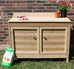 NEW 5 FOOT PREMIER STYLE CEDAR POTTING BENCH GARDENING PLANT - WITH CABINETS