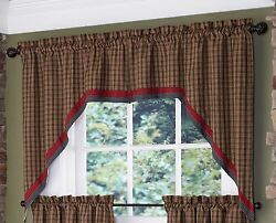 Green Tan and Red Plaid Bordered Cabin Swag Pair by Park Designs 72x36 Lined