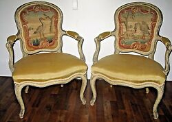 Pair of 18th C French Louis XV Cabriolet Fauteuil Arm Chairs Tapestry Backrest