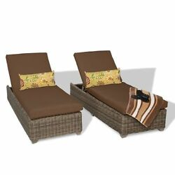 Miseno CAPECOD-2x-COCOA Nantucket 2-Piece Outdoor Chaise Lounge Chair Set