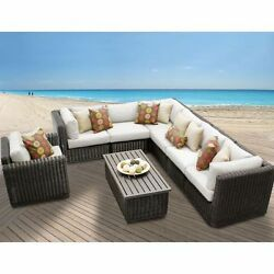 Miseno VENICE-08b-BEIGE 8-Piece Outdoor Furniture Set and Club Chairs