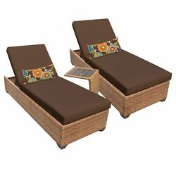 Miseno LAGUNA-2x-ST-COCOA 3-Piece Outdoor Chaise Lounge Chair Set wSide Table