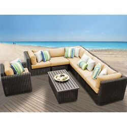 Miseno VENICE-08b-SESAME 8-Piece Outdoor Furniture Set and Club Chairs