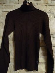 $1250.JEAN PAUL GAULTIER BROWN RIBBED WOOL TURTLENECK SWEATER  ITALY  SIZE S