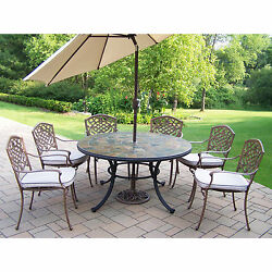 Dakota Outdoor Dining Set with Stone Top Table 6 Cushioned Chairs and Beige Ti