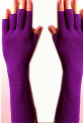 100% Pure Cashmere High Quality Luxurious Knitted Purple Fingerless Gloves Long