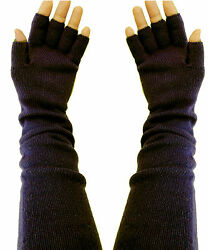 100% Pure Cashmere High Quality Luxurious Knitted Black Fingerless Gloves Long