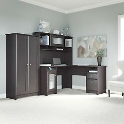 Cabot Collection 60W L Desk Hutch and 2-door Tall Storage