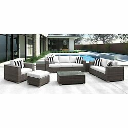 Solis Lusso 7-piece Outdoor Sofa Grey Wicker Rattan with White Cushions and Blac