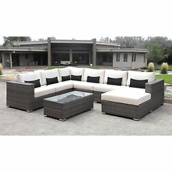 Solis Lusso 7-piece Outdoor Sectional Grey Wicker Rattan Patio with White Cushio
